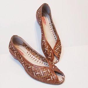 Pikolinos Brandy Flats Leather Slip Ons Sz 9